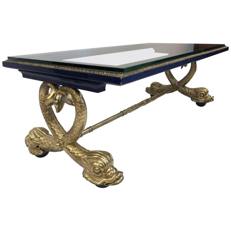 Neoclassical Style Italian Carved Wood Dolphin Coffee Table For Sale