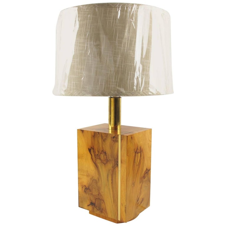 Milo Baughman Style Mid-Century Modernist Burl Wood and Brass Table Lamp