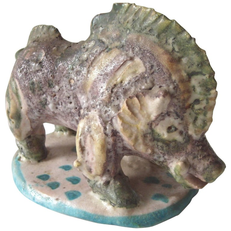Guido Gambone Ceramic/Pottery, Boar, Sculpture Stamped Signed Donkey Mark For Sale