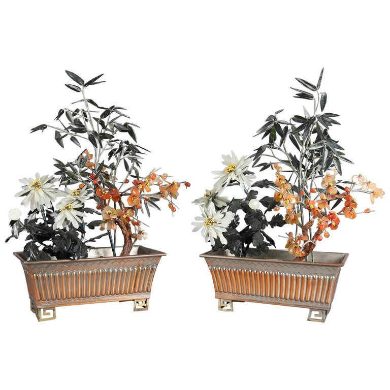 Pair of Chinese Floral and Bamboo Jade Bonsai Trees, 20th Century