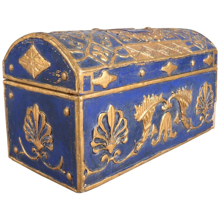 French Neoclassical Carved Cobalt & Gilt Lion Rampant Dresser Box, 19th Century