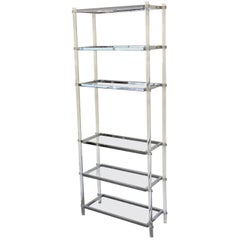 1970s Tall Modernist Lucite and Chrome Étagère Bookcase