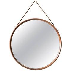 Uno & Östen Kristiansson Mirror in Teak and Leather by Luxus in Sweden