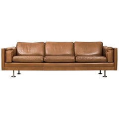 Illum Wikkelsø Sofa in Brown Leather Produced in Denmark