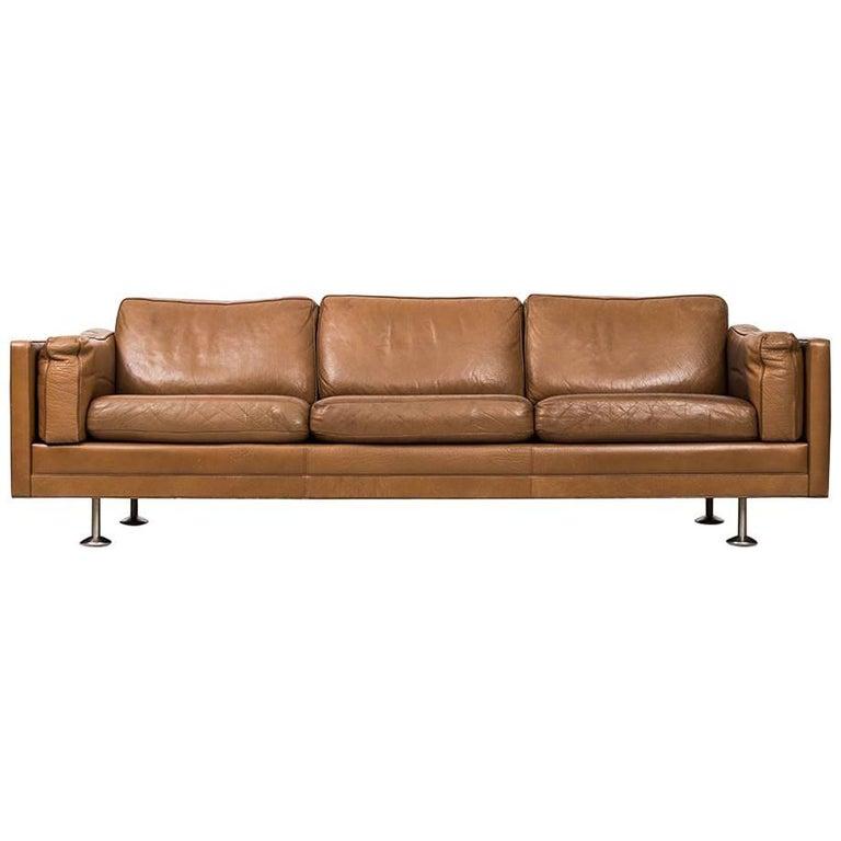 Illum Wikkelsø Sofa in Brown Leather Produced in Denmark