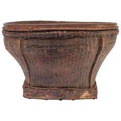 Old Tribal Market Basket from Cambodia, Mid-20th Century
