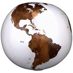 Wooden Globe Teak Root in Classic White Acrylic Resin Finishing