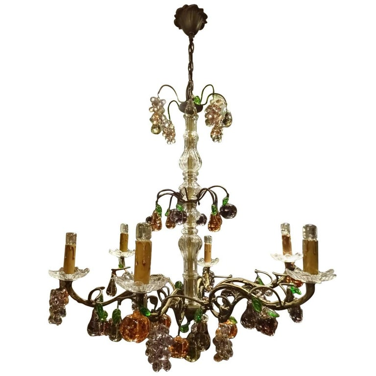 Stunning Cast Iron with Glass Fruit Prisms Vintage Chandelier
