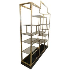 Brass and Glass Shelving Unit / Room Divider