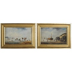 Eugène Galien-Laloue, Jacques Lievin Oil on Panel, Pair of Navy Scenes, 1885