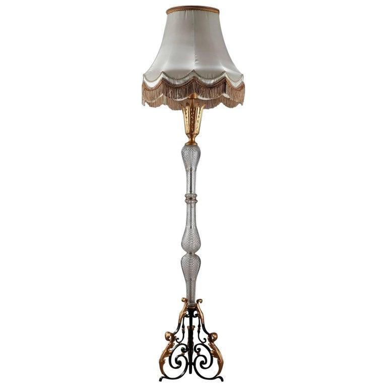 Wrought Iron and Crystal Midcentury Floor Lamp in Gilbert Poillerat Style