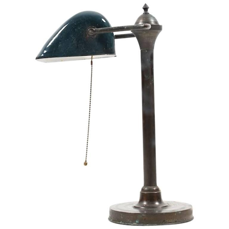 Art Deco Enamel Desk Lamp, 1920s