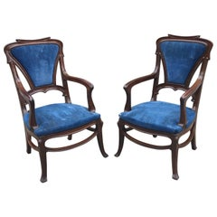 Pair of Art Nouveau Armchairs in Mahogany, circa 1900