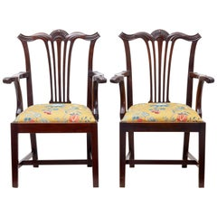 Pair of 19th Century Chippendale Revival Mahogany Armchairs