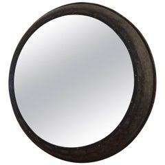 Industrial Metal Circular Railway Mirror, Vintage, Rare