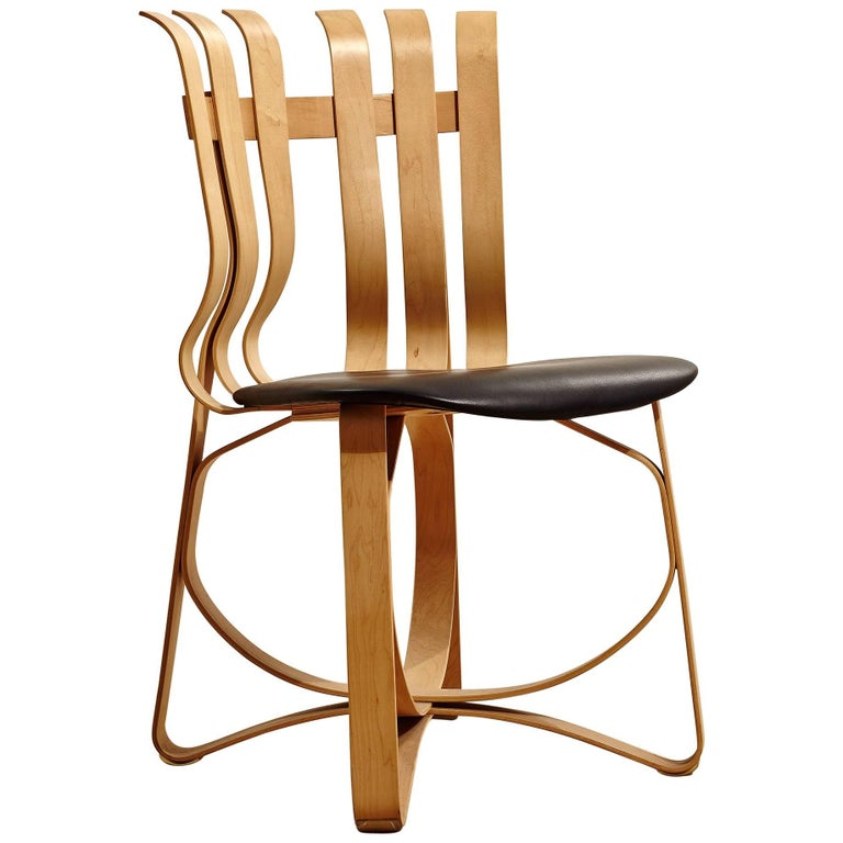 Light Wood Hat Trick Chair with Black Leather Seat by Frank Gehry for Knoll