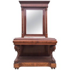 Rare French Buffet/Console, Antique Inlaid with Mirror
