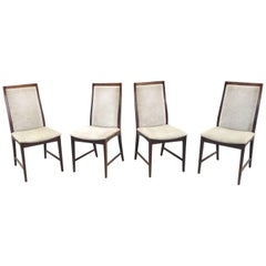 Set of Four 1960s Chairs in Mahogany and Velvet