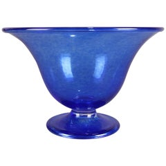 Corning Museum of Glass Cobalt Blue Blown Footed Flared Bowl, Signed