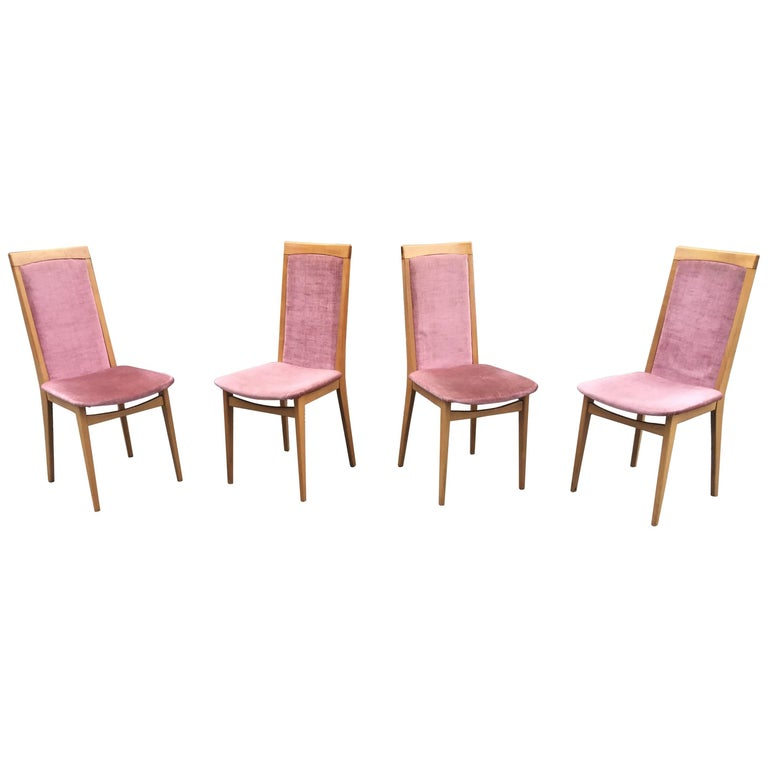 Set of Four 1960s Chairs in Beech and Velvet