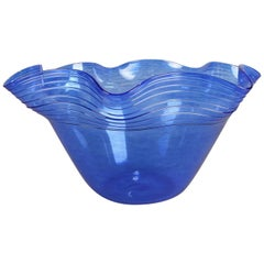 Corning Museum of Glass Blown Speckled Cobalt Blue Ruffled Rim Bowl 20th Century