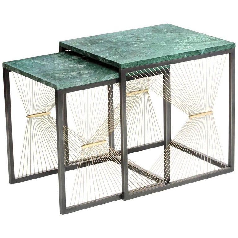 Contemporary Nesting Tables with Marble, Brass and Steel, Handmade in Italy