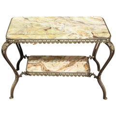 Long French Maison Jansen Two-Tier Bronze Coffee Table with Green Onyx