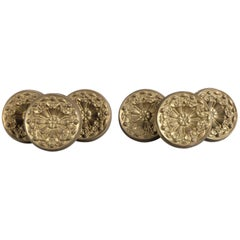 Set of Six Cast Brass Rosette Drapery Tie Backs, 19th Century