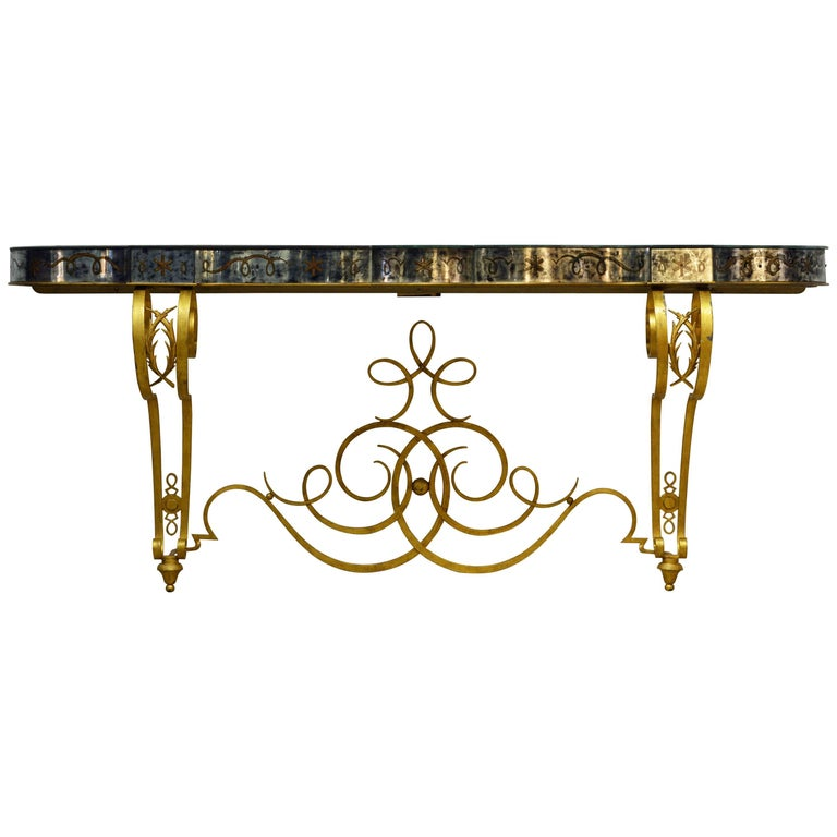 Early 20th Century Mirrored Console Table on Gilt Frame in Raymond Subes Manner For Sale