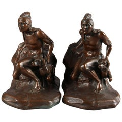 Figural Bronzed Native American Indian Sculpture Bookends Signed C. Vieth
