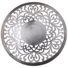 English Sterling Silver Reticulated Scrolled Serving Tray, 6.77 Toz 19th Century
