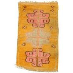 20th Century Tibetan Hand-Knotted Wool Rug Pink Lotus Flower and Orange