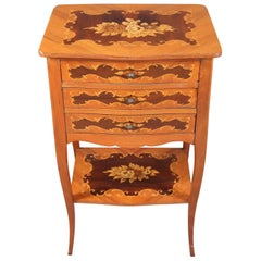 French Louis XV Style Kingwood Floral Marquetry Three-Drawer Stand, 20th Century