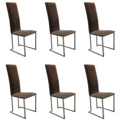 Maison Jansen, Set of Six 1970s Chairs in Chrome Metal and Velvet
