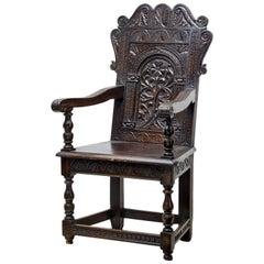 19th Century Carved Oak Wainscot Armchair