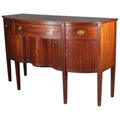 Antique Hepplewhite Style Banded Mahogany Serpentine Sideboard, circa 1890