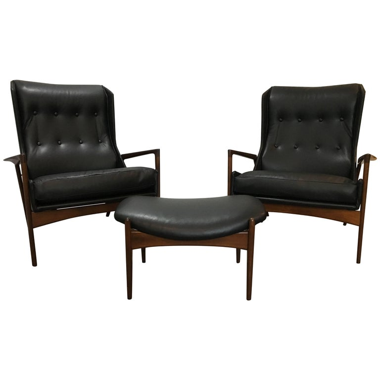 Matched Pair of Kofod Larsen Leather Wingback Chairs and Ottoman