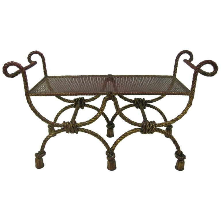 Vintage Hollywood Regency Gilt Rope and Tassel Double Bench, Italy