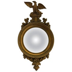 Antique Federal Gilt Gold Carved Convex Eagle Mirror Turn of Century