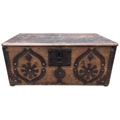 Beautiful French 19th Century Antique Vintage Marriage Trunk, Original Paint