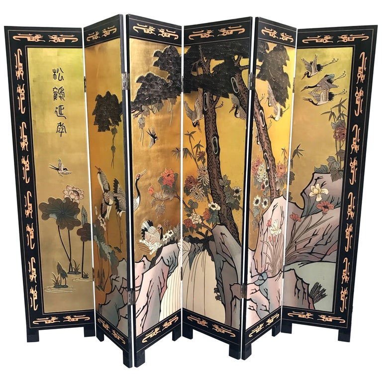 Chinese Gold Leaf Six Panel Coromandel Screen Room Divider