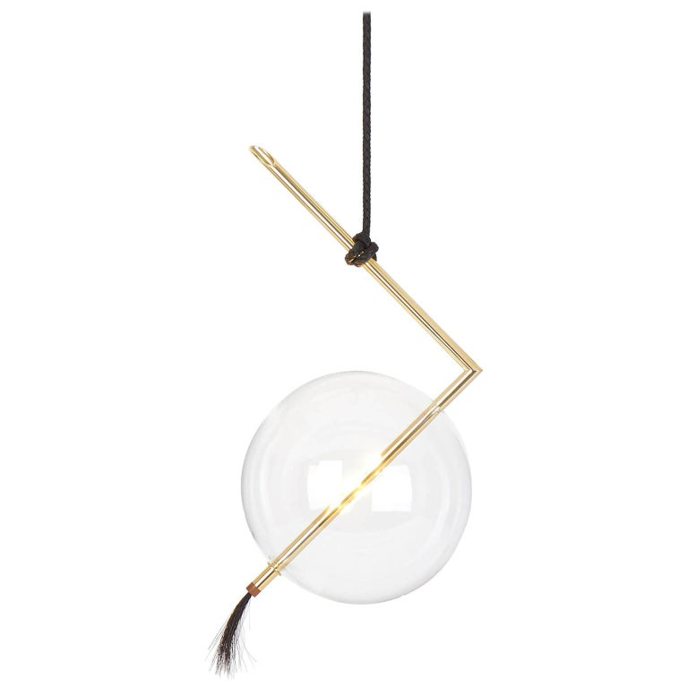 Nuvola Pendant Customizable Dimmable and Touch Sensor Brass Blown Glass Leather
