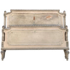 Original Vintage Painted French Kingsize Bed, Antique, Rare