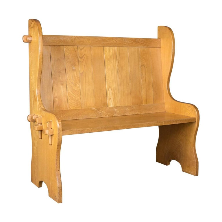 Midcentury Modern Pine Settle, English Bench, Pew, Hall, Kitchen, Boot Room