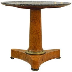 Early 19th Century French Empire Marble Top and Burl Wood Round Centre Table