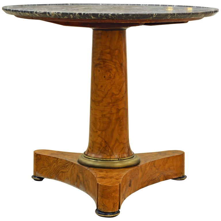 Early 19th Century French Empire Marble Top and Burl Wood Round Centre Table For Sale