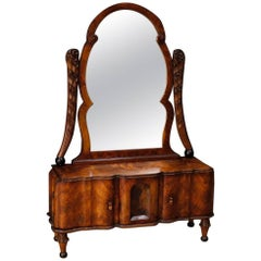 Italian Cheval Mirror in Walnut and Burl Walnut in Art Deco Style, 20th Century