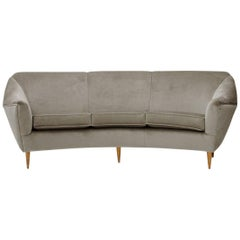 Italian Three-Seat Grey Velvet Sofa, 1950s