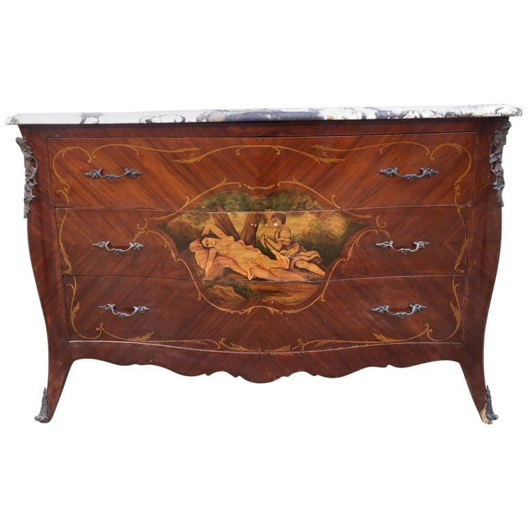 Large Antique French Bombe Chest Drawers, Serpentine, Marble Top