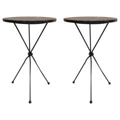 Pair of French Wrought Iron Side Table Giacometti for Jean Michel Frank